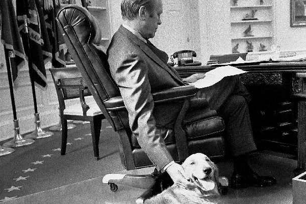 GERALD FORD 38th President of the United States in the Oval Office with his golden retriever Liberty, in November 1974.