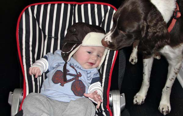Charlie attempts to steal the hat from the head of four-month-old Grissom.
