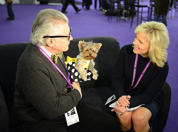 Gretchen Carlson of Fox News interviews Ron Trotta and Schmitty the Weather Dog at the Westminster Kennel Club Dog Show. (Photo by Vincent Middleton)