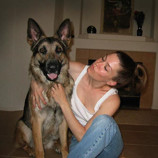 The author and her late dog, Hugo.