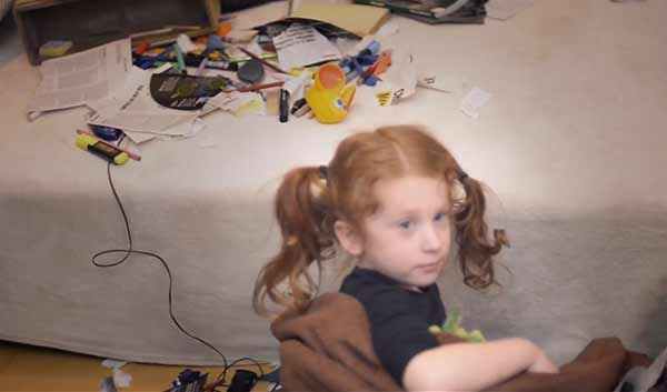"""The """"redheaded stepchild"""" after messing up the bedroom."""