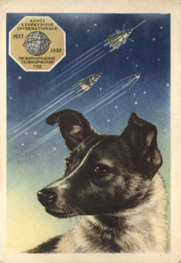 Laika with three Sputniks behind her.