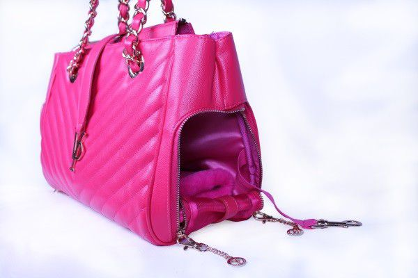 The Vanderpump Monogramme Chain Pet Carrier in Lisa's signature pink color. (Photo by Vincent Sandoval.)