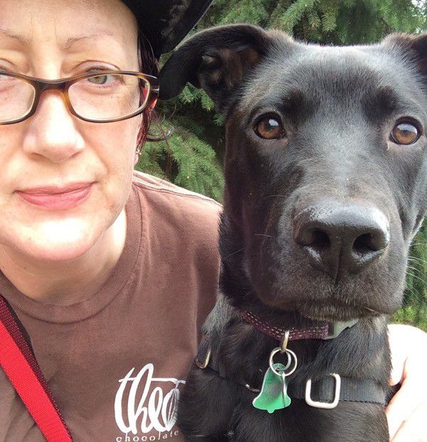 Selfie with Magnum, our pit bull mix. Photo by Kezia Willingham.
