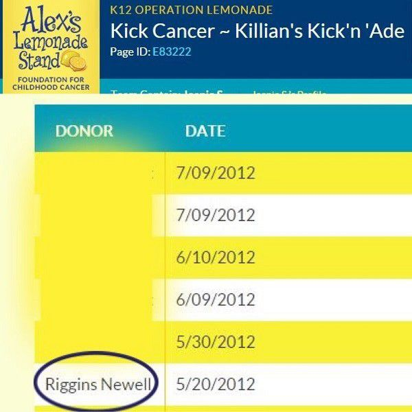 A donation to a friend's fundraiser by Riggins.