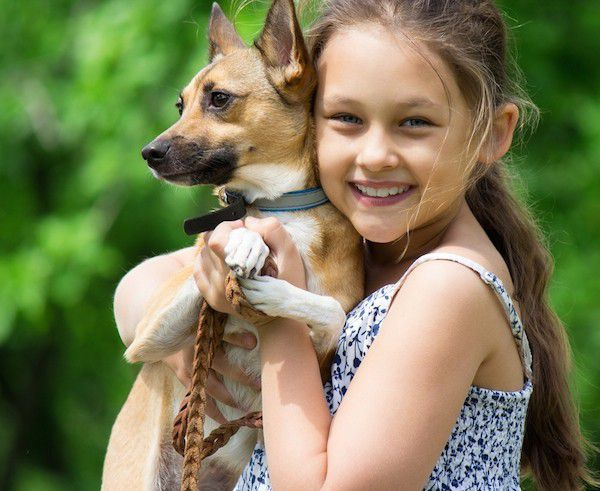 Kid with dog by Shutterstock.