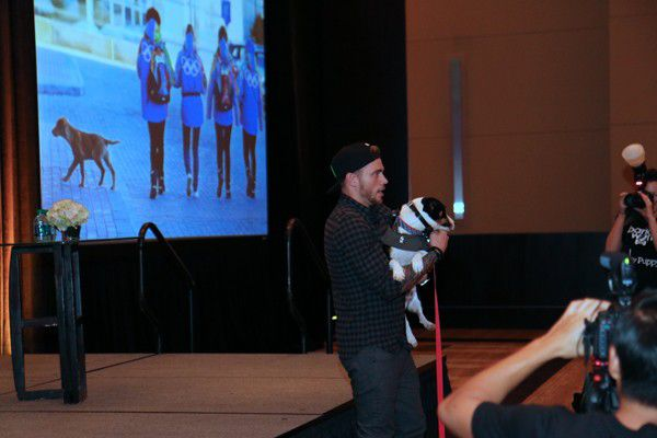 Gus Kenworthy meets Malchik, a dog from Sochi, who was in the audience at BarkWorld.