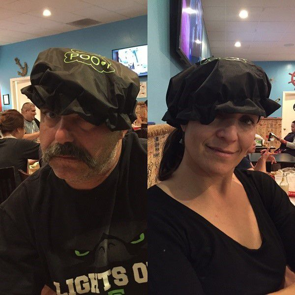 Poof hat as modeled by Jack and Giovanna Gogreve.