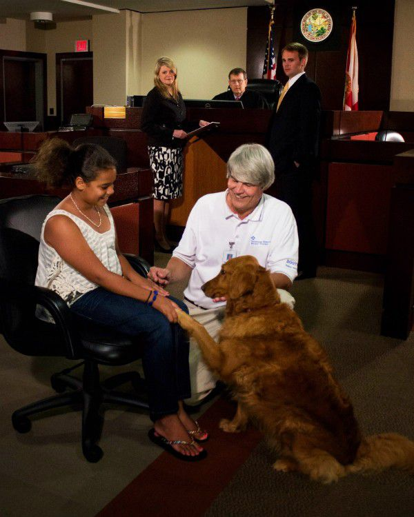 Rikki and her human, Chuck Mitchell, have helped many kids navigate the court system. (Photo credit: Dave Barfield)