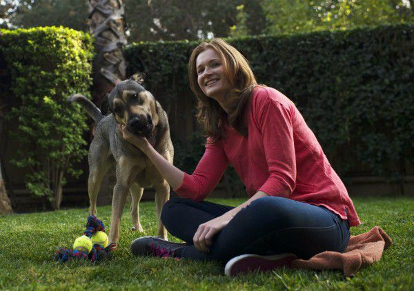 Courtney Daniels, actress and producer for Busted Buggy Entertainment, enjoys time with her rescue dog, Baron. (photo by Robert L. Cunningham)