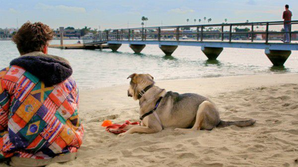 """A still shot from """"Rescue Dogs,"""" shot on the beaches in and around Los Angeles. In this scene, """"Charger"""" hangs out with his owner, """"Harper,"""" played by the writer Jordan Rawlins. (photo by Busted Buggy Entertainment)"""
