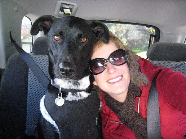 Rare road trip where Riggins and I where both in the back seat together. (Photo by Wendy Newell)