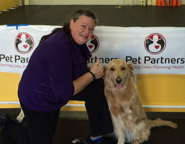 Janning and Zoey after passing the Pet Partners evaluation (Photo courtesy Monica Janning)