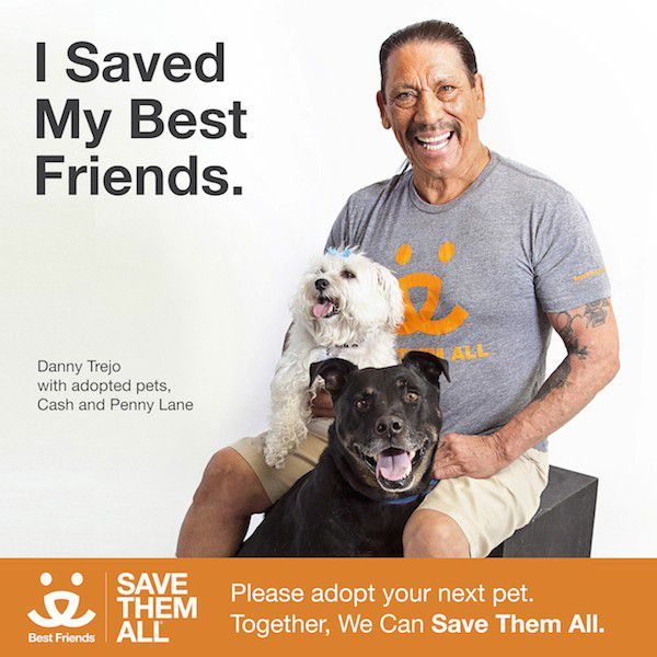 Danny Trejo posed with his rescue dogs for a recent ad for Best Friends Animal Society. (Photo courtesy BFAS)
