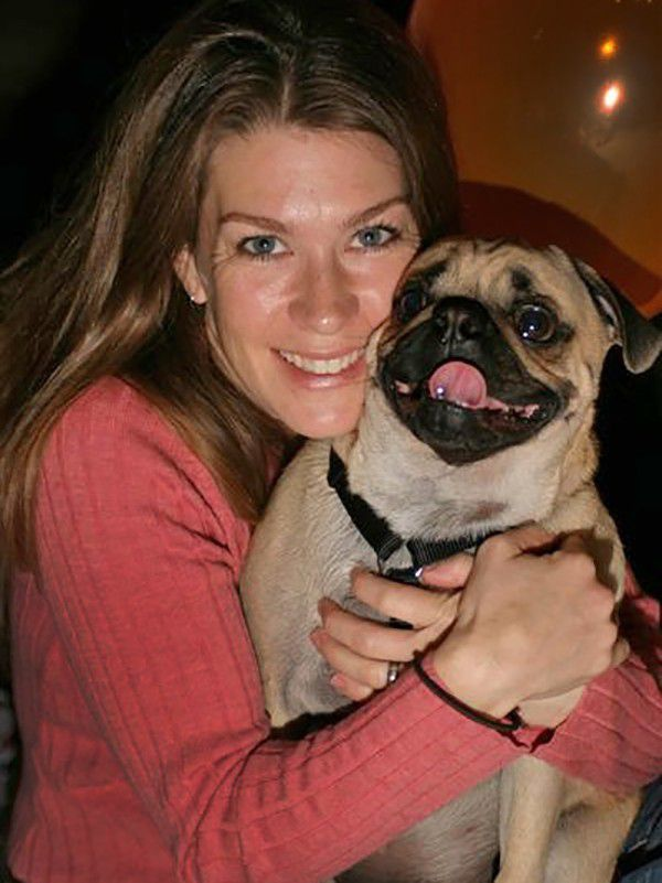 An 18-month-old Gizmo and I at a doggie birthday party. I'll remember the event as the day Gizzy learned how to mark in the house, a lovely habit I was never able to train out of him. (Photo courtesy Lisa Plummer Savas)