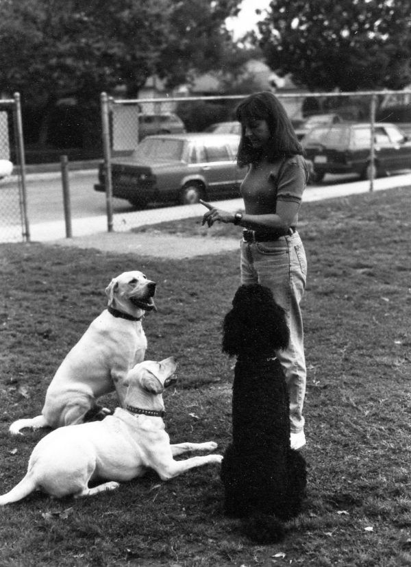 Me working with dogs in 1990. I'll continue training this way, forever! No drone training for me.