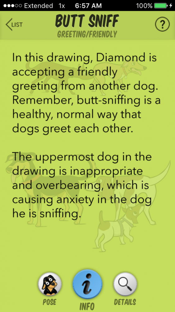 Illustration from the Dog Decoder smartphone app, illustrated by Lili Chin.