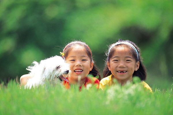 Two girls with a happy white dog in grass.