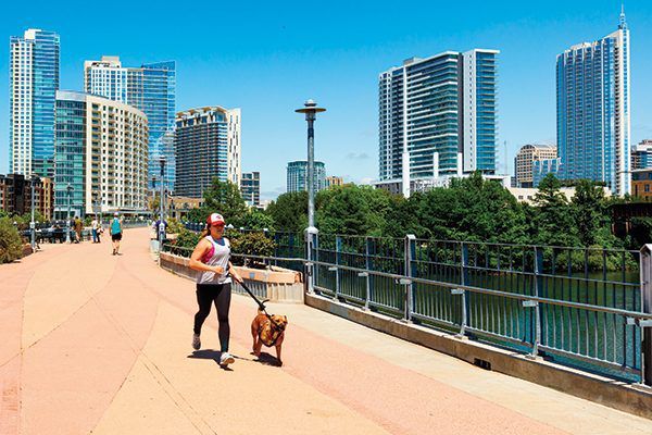 Dog-friendly options in Austin are endless, like jogging on the the Lamar Street Pedestrian Bridge that crosses over Lady Bird Lake.