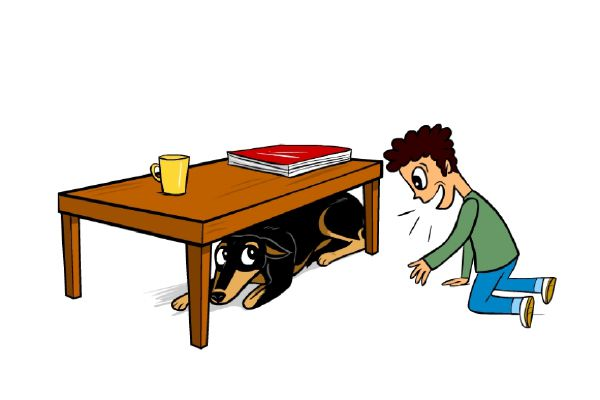 The dog is hiding with whale eyes, expressing fear. Image from Dog Decoder smartphone app. Illustration by Lili Chin.