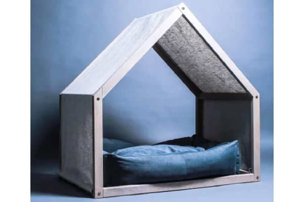 Modern dog house with a linen cover, Shop KMD Designs ($140).