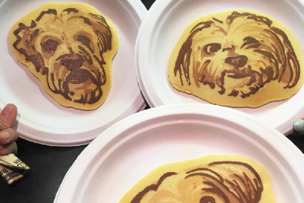 Pancakes with dogs faces.