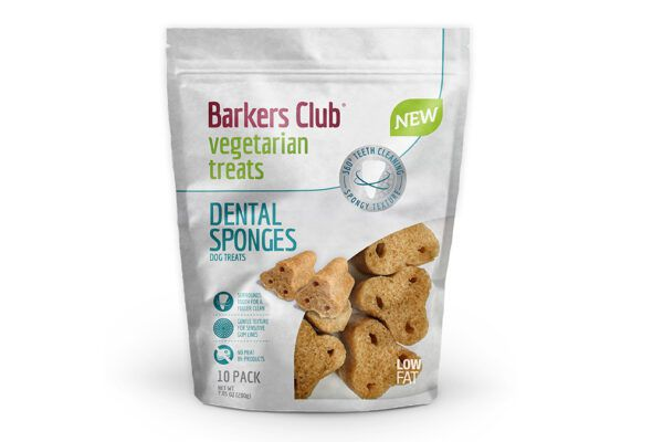 Barkers Club's new vegetarian dental sponges have a gentle texture for sensitive gum lines and surround the teeth for a fuller clean.